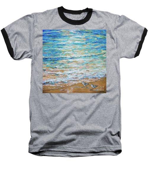 Sanderlings Baseball T-Shirt by Linda Olsen