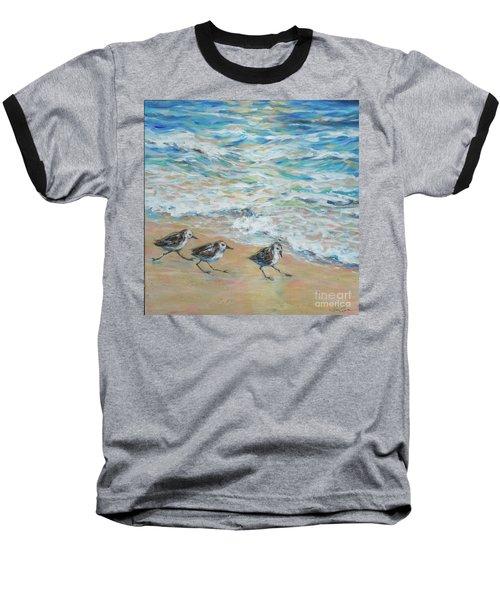 Sanderlings Running Baseball T-Shirt by Linda Olsen