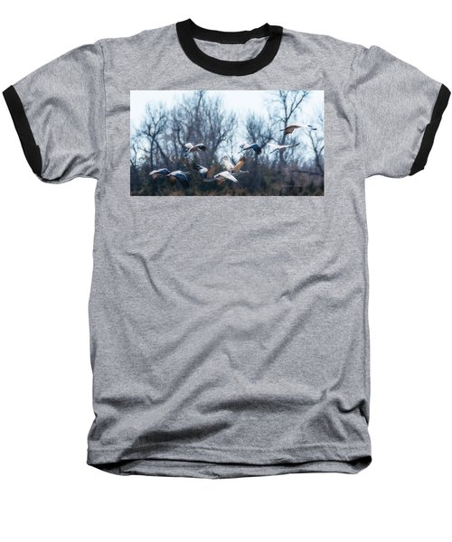 Baseball T-Shirt featuring the photograph Sandhill Crane In Flight by Edward Peterson