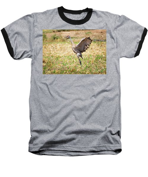 Baseball T-Shirt featuring the photograph Sandhill Crane Morning Stretch by Ricky L Jones