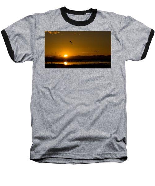 Sandhill Crane Sunrise Baseball T-Shirt