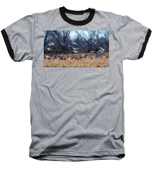 Baseball T-Shirt featuring the photograph Sandhill Crane Taking Flight by Edward Peterson