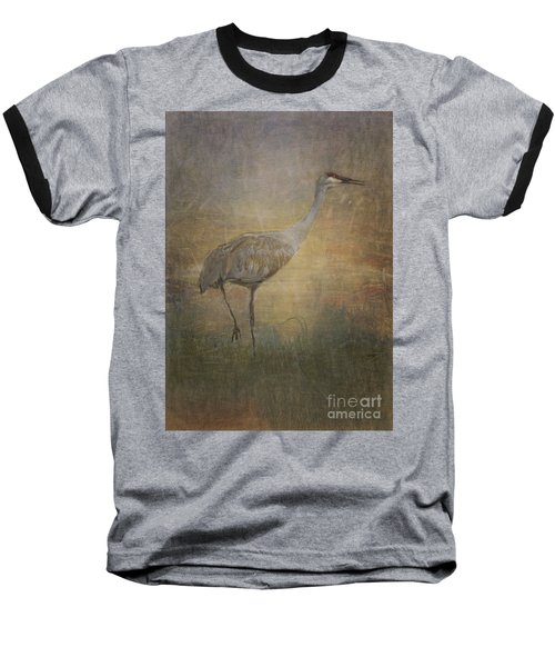 Sandhill Crane Watercolor Baseball T-Shirt by Janice Rae Pariza