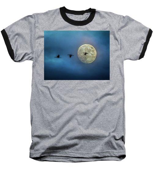 Sandhill Cranes With Full Moon Baseball T-Shirt