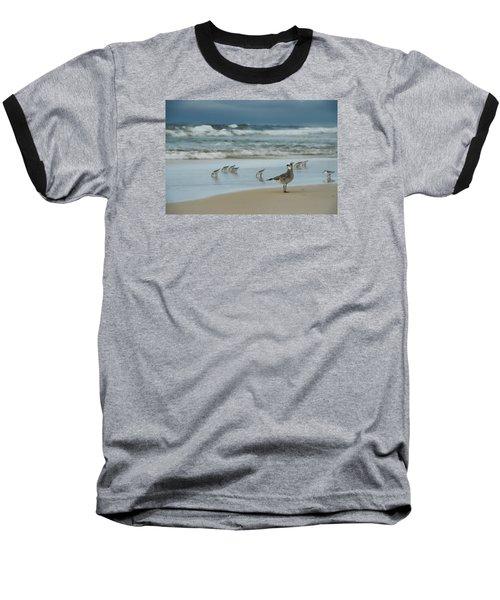 Sandpiper Beach Baseball T-Shirt by Renee Hardison