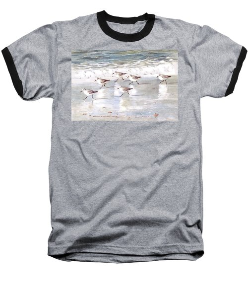Sandpipers On Siesta Key Baseball T-Shirt by Shawn McLoughlin