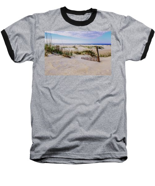 Sand  Fences On The Bogue Banks 2 Baseball T-Shirt by John Harding