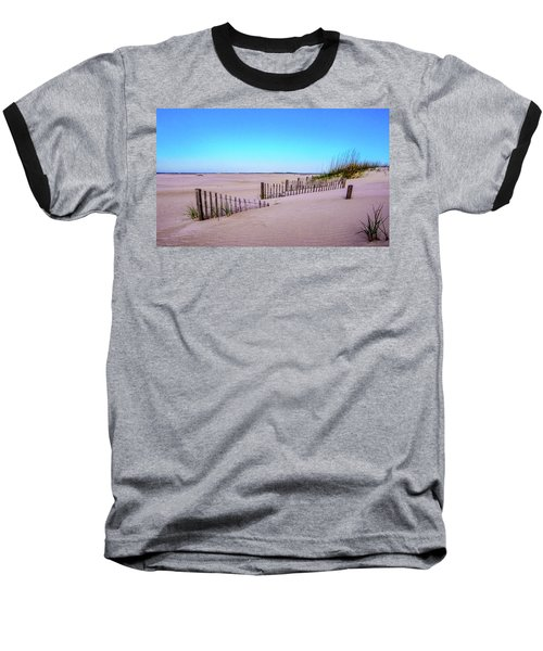 Sand  Fences On The Bogue Banks Baseball T-Shirt by John Harding