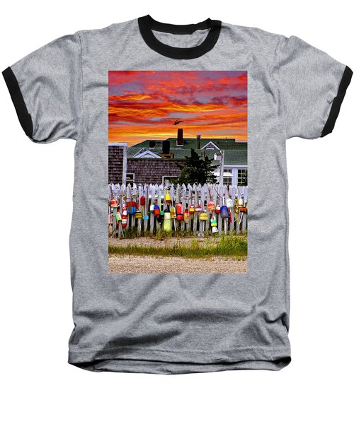 Sandy Neck Sunset Baseball T-Shirt by Charles Harden