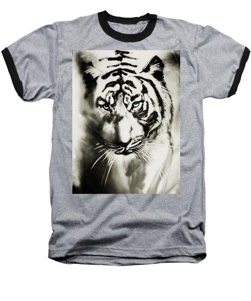 Sandy Tiger Baseball T-Shirt by Elena Vedernikova