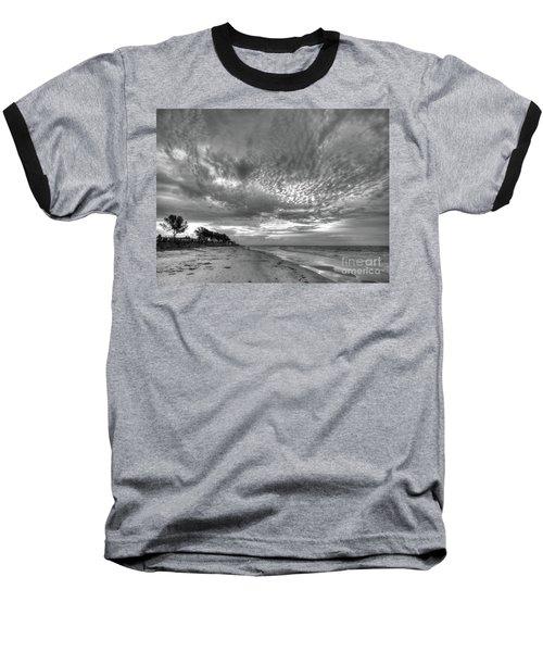 Sanibel Island Sunrise In Black And White Baseball T-Shirt