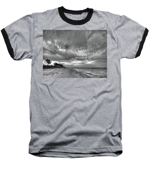 Sanibel Island Sunrise In Black And White Baseball T-Shirt
