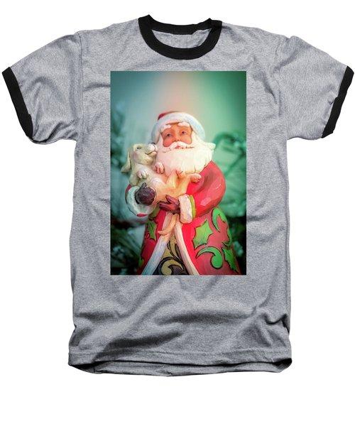 Santa And Lab Pup Baseball T-Shirt