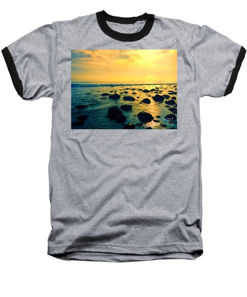 Santa Barbara California Ocean Sunset Baseball T-Shirt
