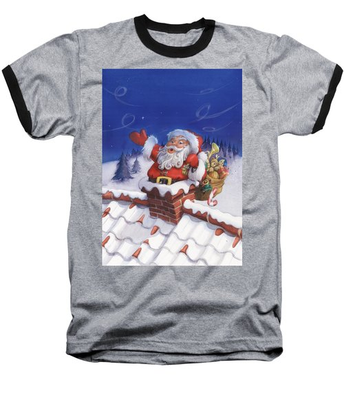 Santa Chimney Baseball T-Shirt