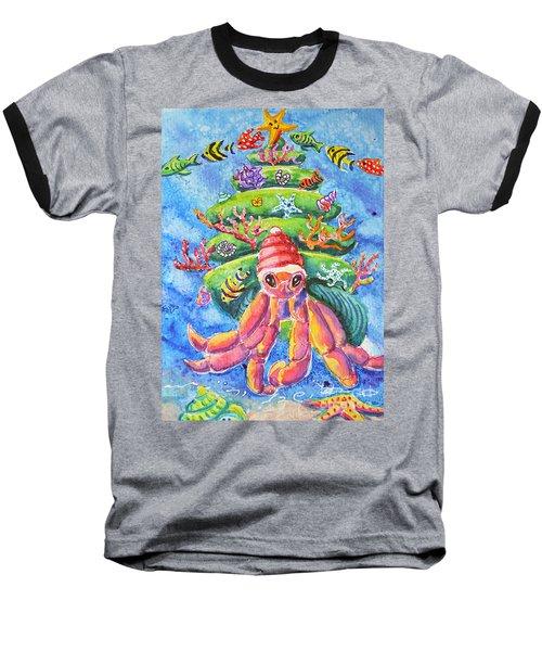 Santa Crab Baseball T-Shirt by Li Newton