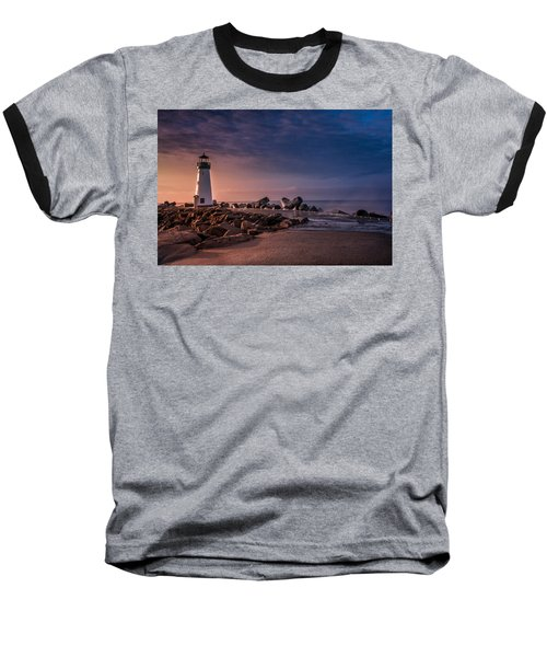 Santa Cruz Harbor Walton Lighthouse Baseball T-Shirt by Ralph Vazquez