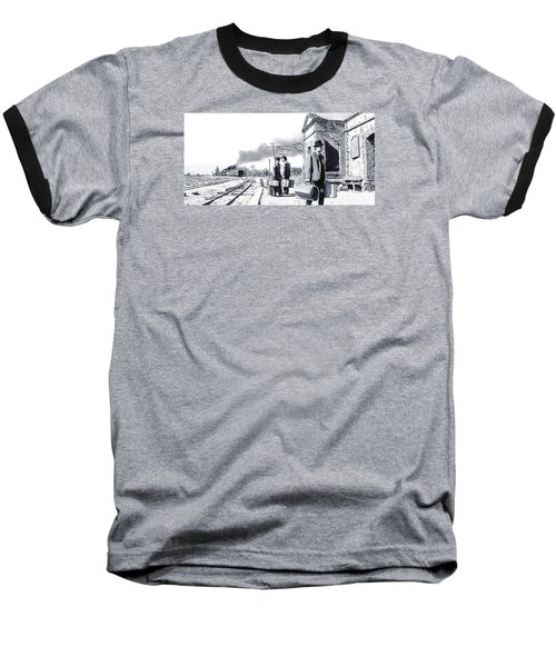Santa Ines Station Baseball T-Shirt by Kurt Ramschissel