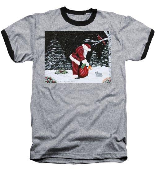 Santa Loves All Creatures Baseball T-Shirt