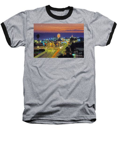 Baseball T-Shirt featuring the photograph Santa Monica Ca  Pacific Park Pier by David Zanzinger