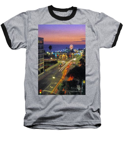 Baseball T-Shirt featuring the photograph Santa Monica Ca Pacific Park Pier  Sunset by David Zanzinger