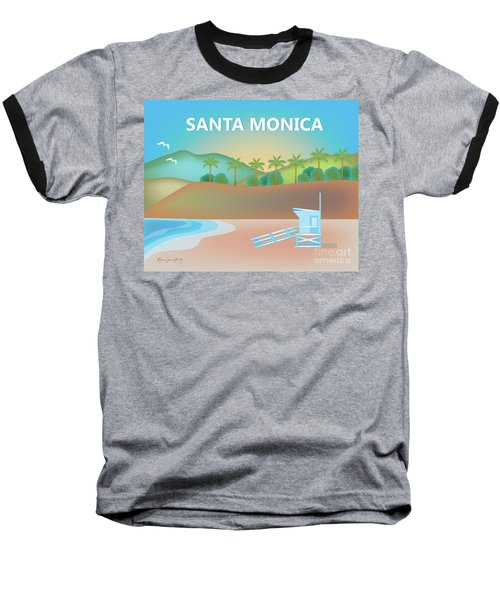Santa Monica California Horizontal Scene Baseball T-Shirt