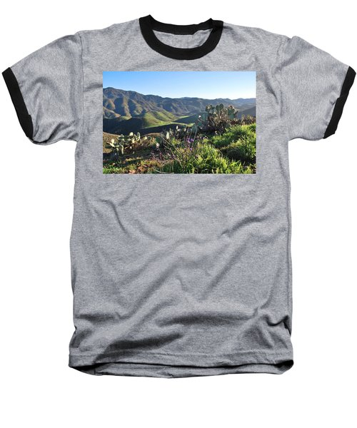 Santa Monica Mountains - Cactus Hillside View Baseball T-Shirt
