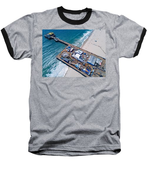 Santa Monica Pier From Above Side Baseball T-Shirt