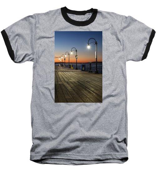Santa Monica Pier Lights Baseball T-Shirt