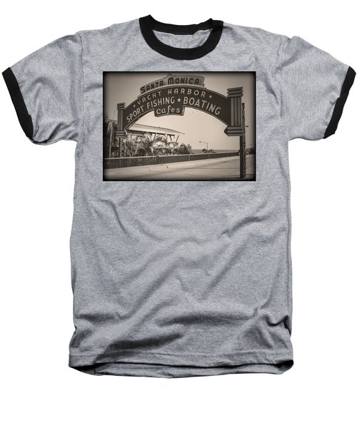 Santa Monica Sign Series Modern Vintage Baseball T-Shirt