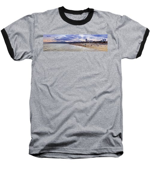 Santa Monica Sunset Panorama Baseball T-Shirt