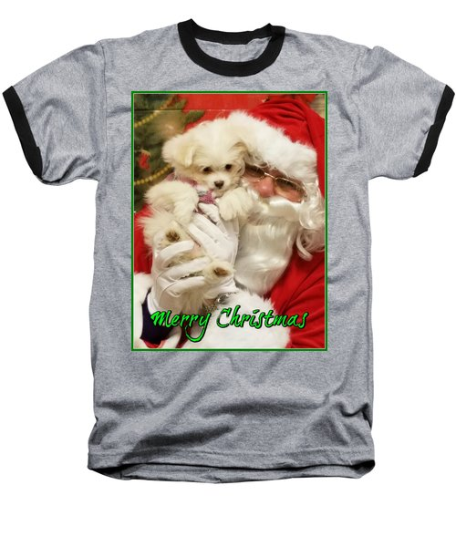 Baseball T-Shirt featuring the painting Santa Paws  by Darren Robinson