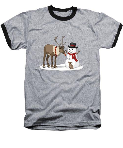 Santa Reindeer And Snowman Baseball T-Shirt