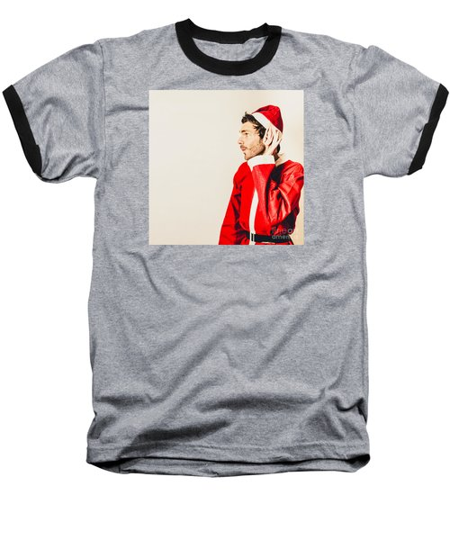 Baseball T-Shirt featuring the photograph Santas Little Helper Listening To Christmas Orders by Jorgo Photography - Wall Art Gallery