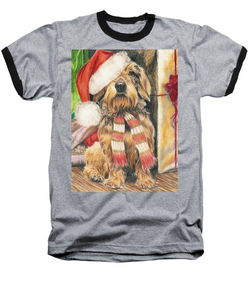 Baseball T-Shirt featuring the drawing Santas Little Yelper by Barbara Keith