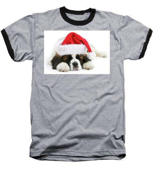 Santa's Snoozing Saint Bernard Baseball T-Shirt
