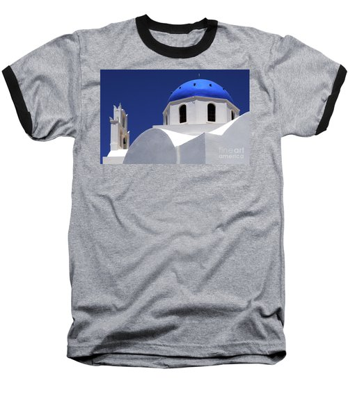 Santorini Greece Architectual Line 2 Baseball T-Shirt by Bob Christopher