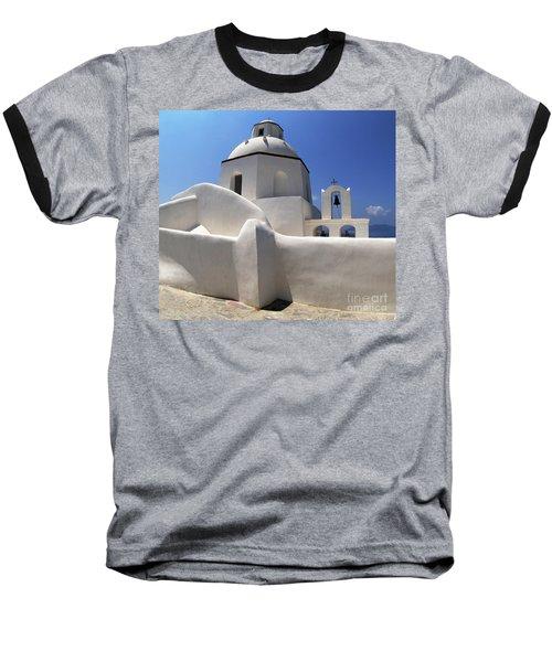 Santorini Greece Architectual Line 4 Baseball T-Shirt by Bob Christopher