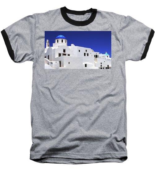 Santorini Greece Architectual Line 6 Baseball T-Shirt by Bob Christopher