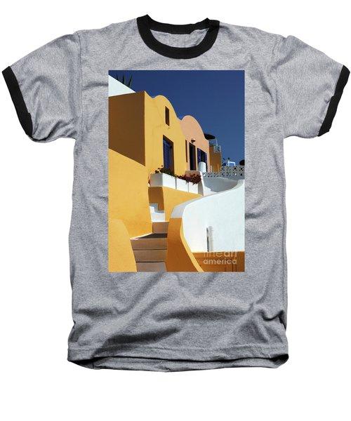 Santorini Greece Architectual Line Baseball T-Shirt by Bob Christopher