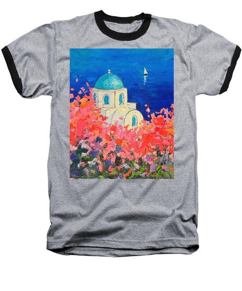 Santorini Impression - Full Bloom In Santorini Greece Baseball T-Shirt by Ana Maria Edulescu
