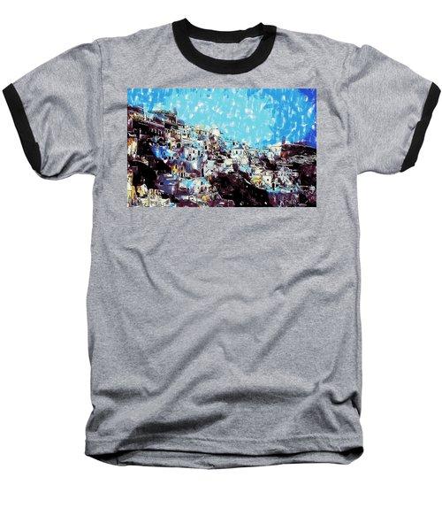 Santorini Island Baseball T-Shirt