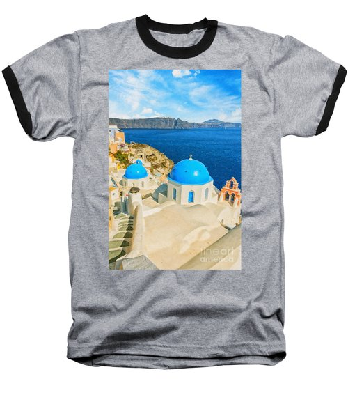 Santorini Oia Church Caldera View Digital Painting Baseball T-Shirt