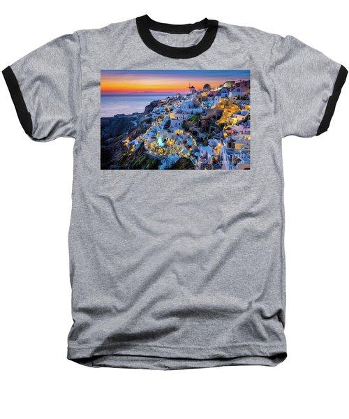 Santorini Sunset Baseball T-Shirt
