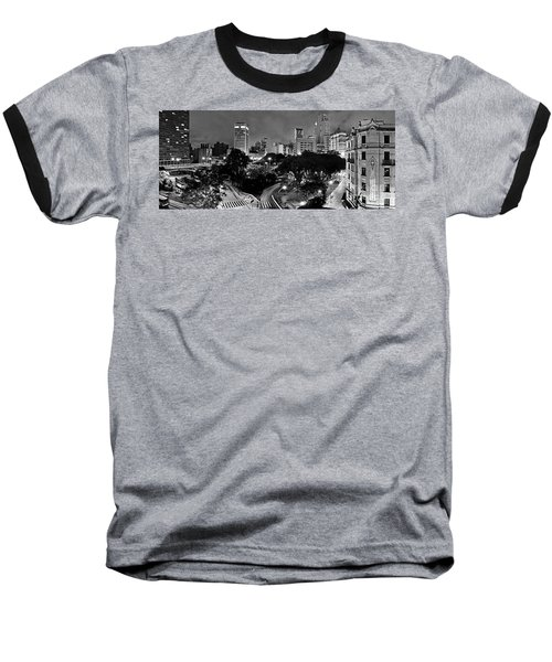 Sao Paulo Downtown At Night In Black And White - Correio Square Baseball T-Shirt
