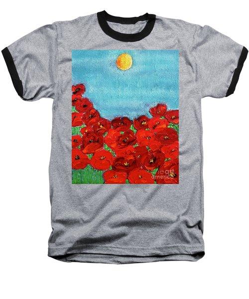 Sarah's Poppies Baseball T-Shirt