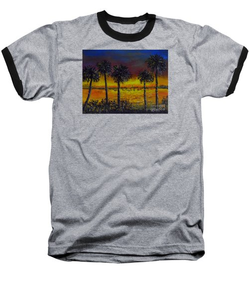 Baseball T-Shirt featuring the painting Sarasota Bayfront Sunset by Lou Ann Bagnall