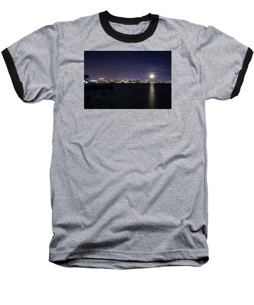 Sarasota Cityscape-night-full Moon 2 Baseball T-Shirt