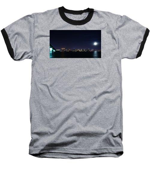 Sarasota Cityscape-night-full Moon Baseball T-Shirt