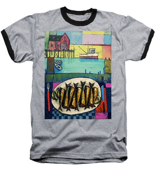 Baseball T-Shirt featuring the painting Sardines by Mikhail Zarovny
